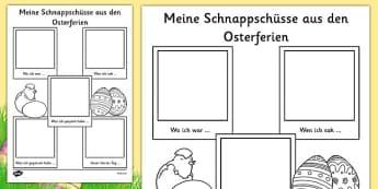 Meine Schnappschüsse aus den Osterferien Easter Holiday Snapshots Writing Frame German - german, religion, celebrations