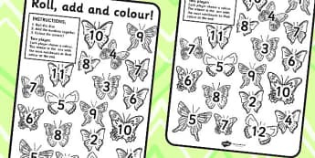 Minibeast Butterfly Roll and Colour Worksheet - minibeast, colour