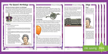 The Queen's Birthdays Differentiated Fact File - KS2 The Queen's Birthday UKS2, LKS2, Upper Key Stage Two, Lower Key Stage Two, Upper Key Stage 2, L