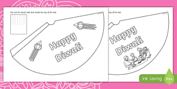 Diwali Party Hat Colouring in Activity