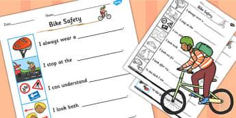Cycling Safety Worksheet - cycling, safety, worksheet, sheet