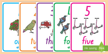 Number and Word Posters (0-20 with Images) Display Posters - New Zealand Maths, number posters, NZ number posters, NZ number display