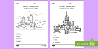 Castele și cavaleri Colorează după codul numerelor - recunoașterea cifrelor, numerație, motricitate fină, arte, matematică,Romanian