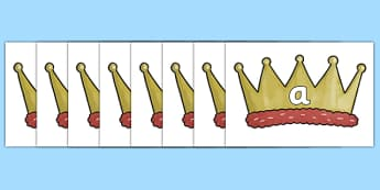 100 High Frequency Words on Crowns - High frequency words, hfw, DfES Letters and Sounds, Letters and Sounds, display words