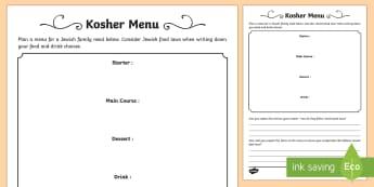 Kosher Menu Activity Sheet - kosher, food, drink, menu, Jewish, Judaism, laws, rules.