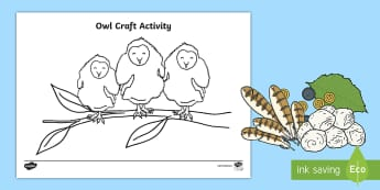 Owl Craft Activity Sheet - EYFS Owlets, Owl Babies, Martin Waddell, owl, nature, british, wildlife, nocturnal, night, animals,