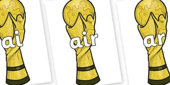 Phase 3 Phonemes on World Cup Trophy - Phonemes, phoneme, Phase 3, Phase three, Foundation, Literacy, Letters and Sounds, DfES, display