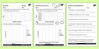 Favourite Fruit Tally and Pictogram Worksheets - tally chart, pictogram, pictograph, pictogram worksheet, favourite fruit in a class worksheet, ks2 maths