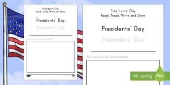 Presidents' Day Read, Trace, Write and Draw Activity Sheet - American Presidents, American History, Social Studies, Barack Obama, Lyndon B. Johnson, Franklin D.