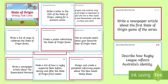 State of Origin Writing Challenge Cards  - Australia, Australian, English Curriculum, State of Origin, Writing, Writing Challenge, task cards,