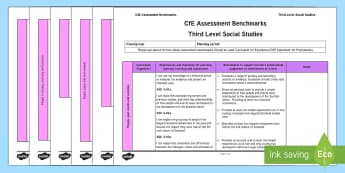CfE Third Level Social Studies Assessment Benchmarks Assessment Tracker-Scottish - CfE Benchmarks, tracking, assessing, progression, numeracy, literacy, health and wellbeing,Scottish