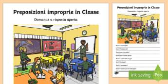 Preposizioni improprie in Classe Domande a Risposta Aperta - frasi, senso, compiuto, preposizioni, impropire, esercizio, italiano, italian, scuola