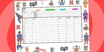 Superhero Themed Editable Mid Term Planning Template - plans