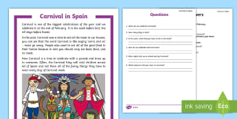 Carnival in Spain Differentiated Reading Comprehension Activity - Carnaval España, cuaresma, decoración de la clase, decoración de carnaval, carnaval inglés, carn