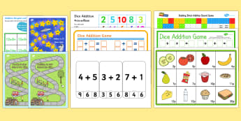 addition games ks1 printable - - addition, games, KS1, sums, total,