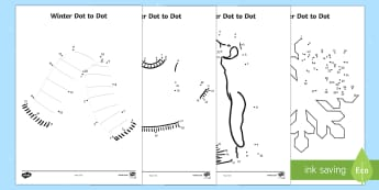 Winter Themed Dot to Dot Activity Sheets - Winter, worksheets, dot to dot, fine motor skills, number recognition, number ordering