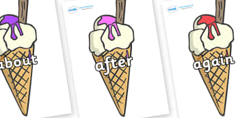 KS1 Keywords on Ice Creams to Support Teaching on The Very Hungry Caterpillar - KS1, CLL, Communication language and literacy, Display, Key words, high frequency words, foundation stage literacy, DfES Letters and Sounds, Letters and Sounds, spelling
