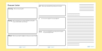 Evacuee Letter Writing Frame - evacuee letter, writing frame, journey, family, staying with, writing template, writing frames, word cards, flashcards, template, where were you living, help,