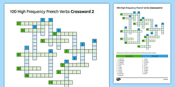 100 High Frequency French Verbs Crossword  2 -  French