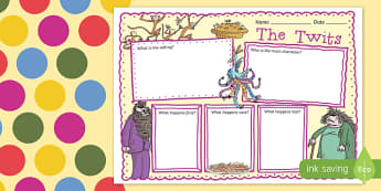 Book Review Writing Frame to Support Teaching on The Twits - writing frame, review