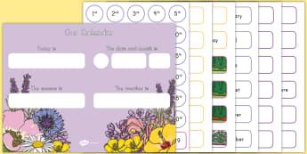 Floral Display Calendar - Classroom, Display, Floral, flower, plants, petal, vines, calendar, day, month, weather