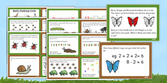 Minibeast Themed KS1 Maths Challenge Cards - math, numeracy
