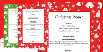 Christmas Dinner Menus - festivities, celebrations, menu, food