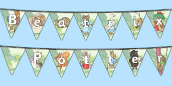 Beatrix Potter Bunting - beatrix potter, bunting, display, display bunting
