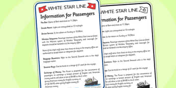 The Titanic Role Play Information Poster - titanic, role play
