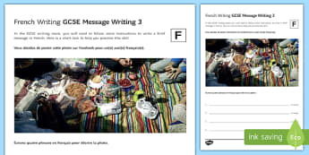 GCSE French Message Writing 3 Foundation Tier Activity Sheet-French, worksheet