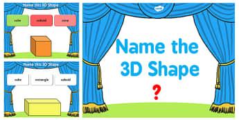 Name the 3D Shape Year 3 PowerPoint Quiz - quiz, 3d, shape, 3