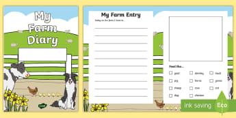 Design a Farm Diary Aistear Activity Sheet - Aistear, Infants, English Oral Language,Farm, Diary, Farm Diary, Activity Sheet, worksheet, Irish