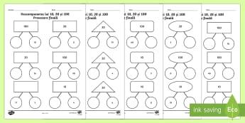 Descompunerea numerelor 10, 20 și 100 - Provocare finală - descompunere, matematică, exerciții, română, descompunerea numerelor, materiale, fișe, Romanian