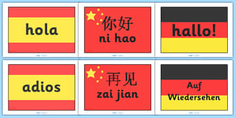 Hello and Goodbye Flags Languages Pack (A4) - languages, hello, goodbye, french, spanish, german, flags, A4, how to say hello, how to say goodbye, poster, sign, banner, display, italian, dutch