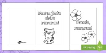 Festa della mamma Fogli da colorare Biglietto d'Auguri - festa, della, mamma, biglietto, d'auguri, colora, fogli, di , carta, italiano, italian, materiale,