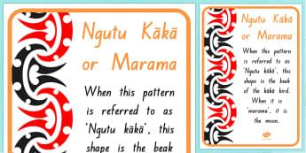 Ngutu kaka/Marama Pattern A4 Display Poster