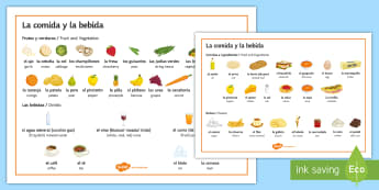 Food and Drinks Vocabulary Word Mat - Spanish, Vocabulary, food, drinks, word, mat, restaurant