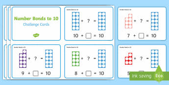 Number Shapes Number Bonds to 10 Activity Challenge Cards - Requests KS1, maths, number bonds, adding, numicon, calculations, number day