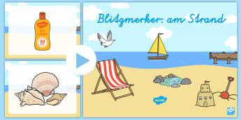 Blitzmerker: am Strand PowerPoint - Sommer, Jahreszeiten, Gedächtnistraining, Strand, Kl.1/2, summer, seasons, memory training, beach,