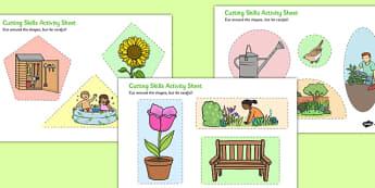 Garden Themed Cutting Skills Activity Sheet - garden, themed, cutting, skills, activity, sheet, worksheet