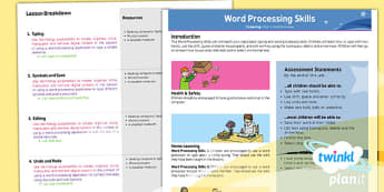PlanIt - Computing Year 1 - Word Processing Skills Planning Overview