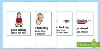Good Listening Cards - English / Italian - Good Listening Cards - education, home school, child development, children activities, free, kids, c