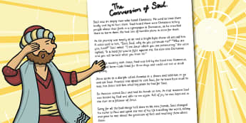 The Conversion of Saul Story Print Out - Saul, Conversion, Print, Bible