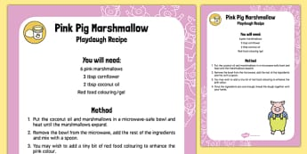 Pink Pig Marshmallow Playdough Recipe
