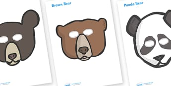 Bear Role Play Masks - Bear, bears, mask, role play, animal, polar bear, grizzly bear, brown bear