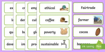 Fairtrade Word Cards - CfE Fairtrade, labels, display, farmer, crops, chocolate, bananas, fair trade, sustainable, sustaina