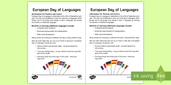 European Day of Languages Parent Information Letter - MFL, EDL, communication, links, 26th September, French, German,Scottish