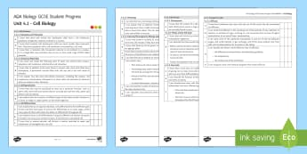 AQA Biology Unit 4.1 Cell Biology Student Progress Sheet - Student Progress Sheets, AQA, RAG sheet, Unit 4.1 Cell Biology