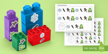 Life Cycle of a Frog Connecting Bricks Game - EYFS Connecting Bricks Resources, duplo, lego, tadpole, froglet, frogspawn