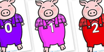 Numbers 0-31 on Pigs - 0-31, foundation stage numeracy, Number recognition, Number flashcards, counting, number frieze, Display numbers, number posters